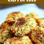 close up shot of a stack of finished zucchini carrot tots on a white paper