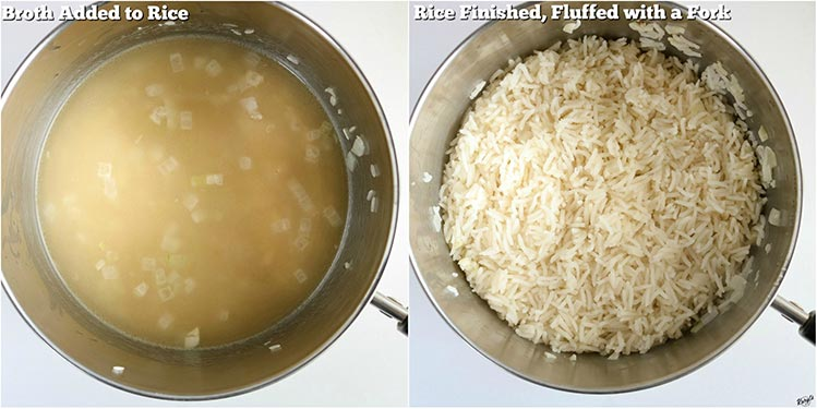 Process shots: broth added to saucepan on left; finished rice in saucepan on right