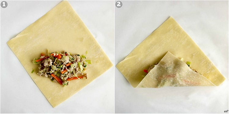 process shots: filling scooped onto open wrapper on left; bottom corner of wrapper folded up on right