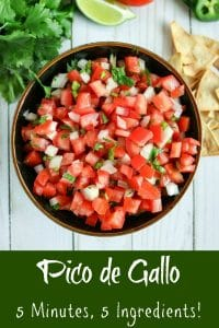 overhead shot of finished Pico de Gallo with side of chips