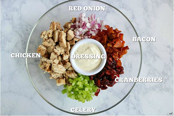 overhead shot of all ingredients in a clear bowl