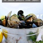 finished clams & mussels in a metal bucket