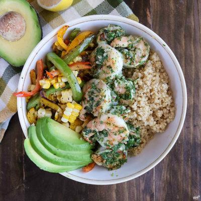 Chimichurri Shrimp Vegetable Bowl