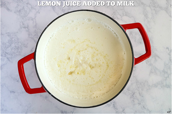 overhead process shot, lemon juice added to milk