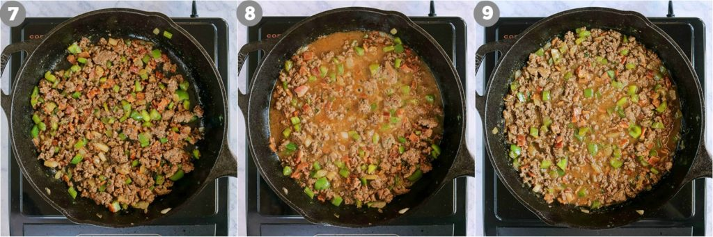 overhead process shots of sloppy joes in a skillet