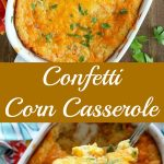 2 overhead shots of finished Confetti Corn Casserole in a white baking dish
