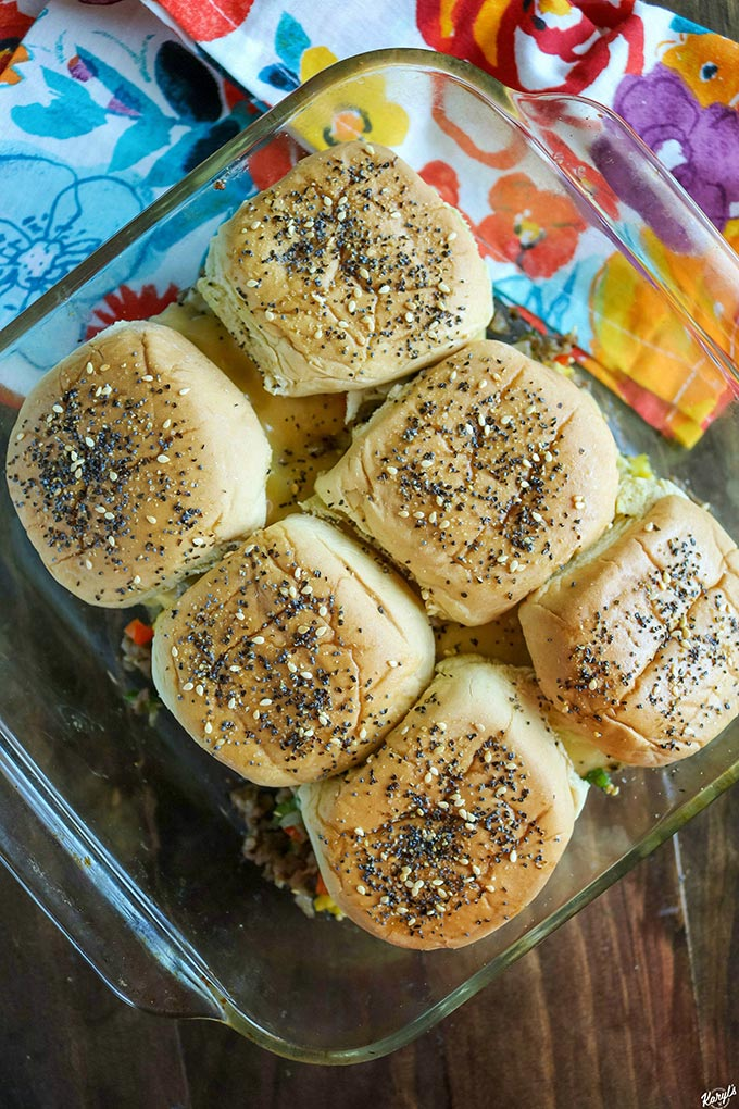 overhead shot of finished loaded breakfast sliders in a baking dish