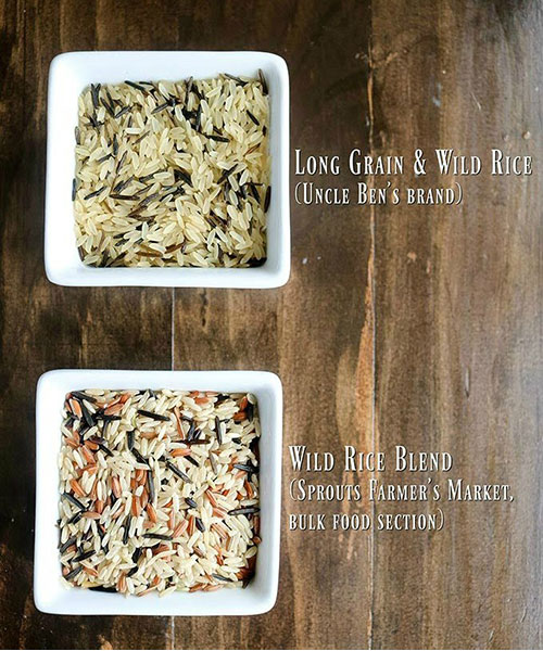 overhead shot of variations of wild rice. Uncle Ben's wild rice on top, bulk food wild rice on bottom