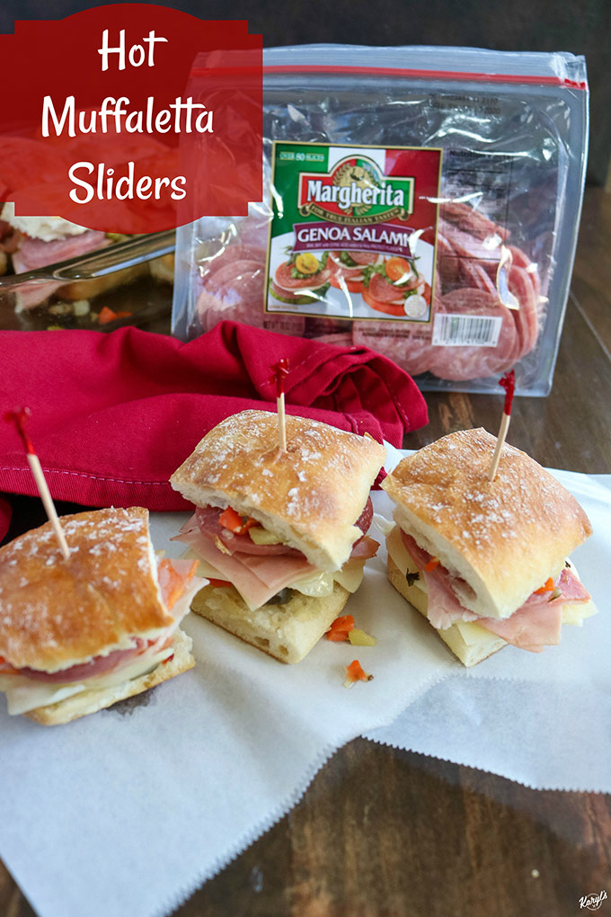 overhead shot of 3 finished sliders on white paper with a bag of Genoa salami in the background