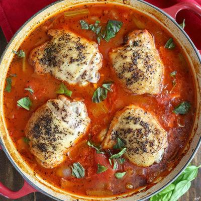 Tomato Basil Braised Chicken