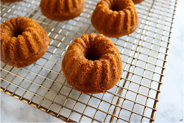close up process shot of finished bundt cakes, unglazed