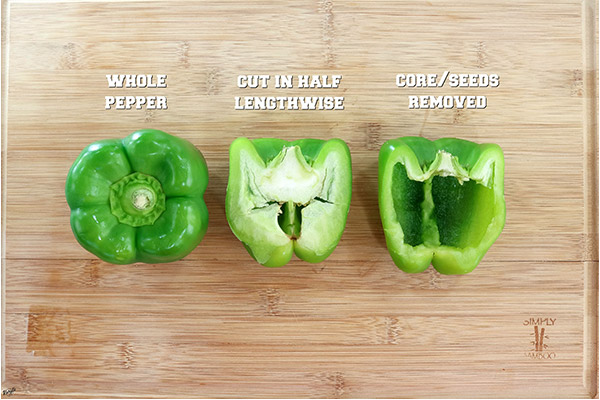 Process shot: raw bell peppers in 3 stages of prep