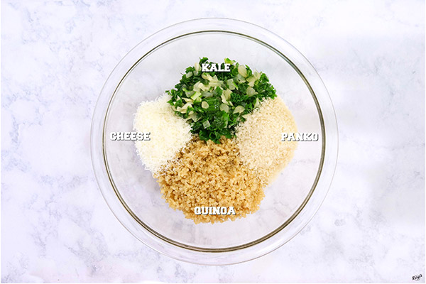 Process shot: Kale and Quinoa Patties ingredients in a glass bowl