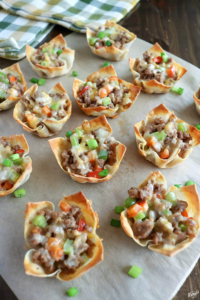 angled shot of finished Sausage Pepper Wonton Cups