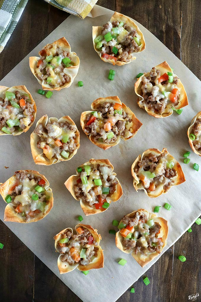 overhead shot of finished Sausage Pepper Wonton Cups