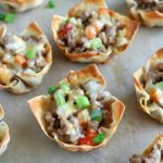 close up shot of finished Sausage Pepper Wonton Cups